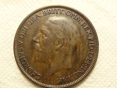 1926me Modified Effigy George V Penny -COIN NR 2
