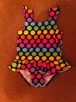 Girls Swimming Costume Spotty Bright Pink Yellow Blue Mothercare Age 4-5 Years