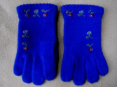 Adorable vintage little girls finely knit and hand embroidered winter gloves