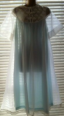 Vintage Original Blue White Double Nylon Sheer Nightgown With Lace Size Large 44