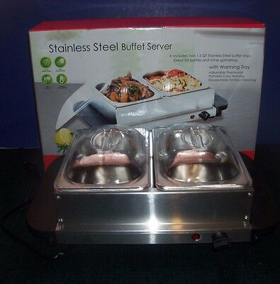 ELECTRA Mfg. Stainless Steel Buffet Server & Warming Tray, Small 1.5 Quart Trays