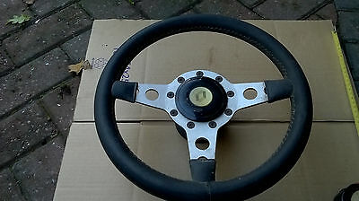 """13"""" leather and alloy classic steering wheel & boss Renault Formuling France"""