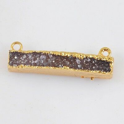 Rectangle Gold Plated Natural Agate Druzy Connector Double Bails T022508