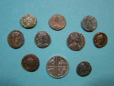 9 Small Roman coins, unresearched, all with some nice detail.