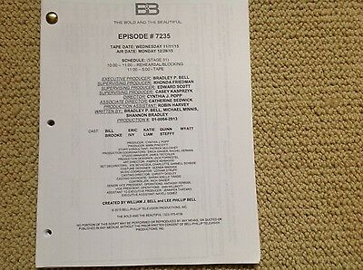 THE BOLD and the BEAUTIFUL CBS-TV SHOW ORIGINAL SCRIPT