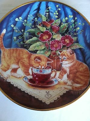 "Decorative round collectable plate ""Tea For Two "" cats Limited edition Franklin"