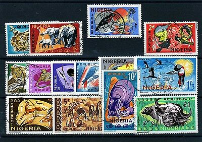 NIGERIA 1965 Animals set good-fine used as scan BUT 1.5d with cpl of short perfs