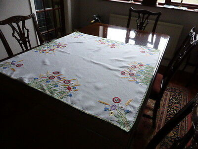 Lovely off white square linen hand embroidered table cloth