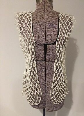Vintage Pearl Beaded Vest Long 70s VTG Flapper Costume