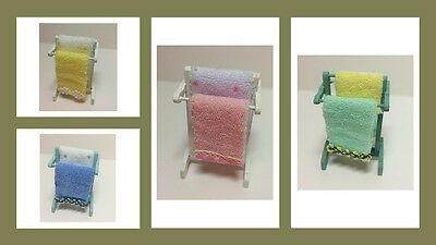 1:12 scale dolls house miniature bathroom towel rail wih towels  4 to choose.