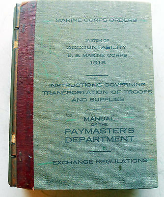 Original Marine Corps Book For System of Acountability 1918 , Exchange Regs,