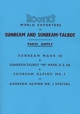 Sunbeam Alpine Talbot 90 1953 to 55 Parts manual book catalogue paper