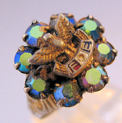 Vintage Fraternal Order of Eagles Rhinestone Ring Costume Jewelry Jewellery