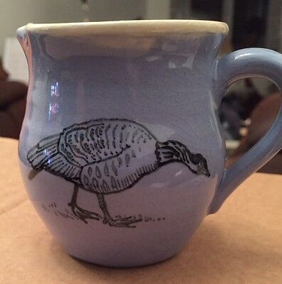 Blue Pottery Milk/Cream Jug. Decorated With A Goose.