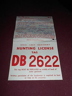 Vintage 1967 Ohio Resident Hunting Licesnse Tag- White & Red