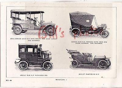Argyll car & others - book illustration of motor cars c1904-08 (size 23x16 cms)