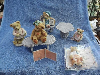 Cherished Teddies collection with tables and chairs and five teddies