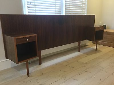 Mid Century vintage retro walnut headboard with side tables by Gordon Russell