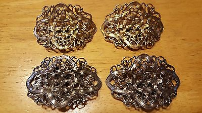 Vintage MUSI Ornate Floral Shoe Clips Lot 2 pr