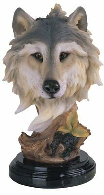 8.5 Inch Wolf Head Bust Nature Wildlife Animal Statue Collectible Wild Figurine