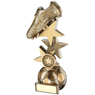 Antique Gold Stars Football Boot Trophy,Award,152mm,Free Engraving, (RF453A) td