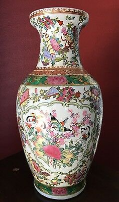 20th C. Chinese Famille Rose Porcelain Vase Birds Butterflies Red Seal Mark NR