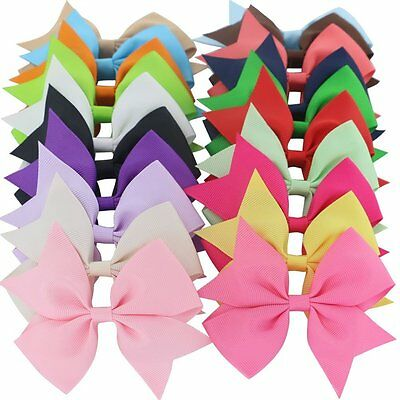 20PCs Girl Handmade Bow Hair Clip Alligator Clips Girls Ribbon Kids Accessories