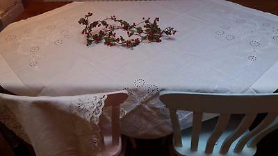 Antique Vintage Victorian Finest Hand Embroidery White Linen Tablecloth