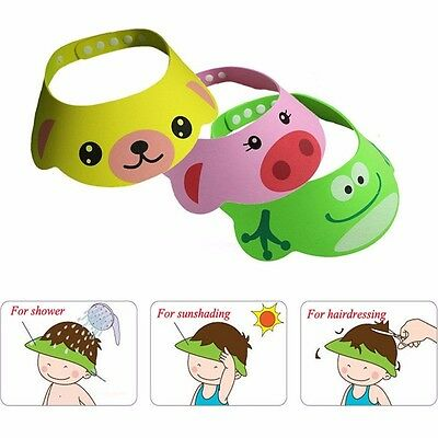 Baby Animal Tear less Bath Shower Shampoo Visor Eye Shield Cap Wash Hair Kids UK