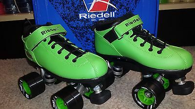 New Riedell Dart Roller Derby Speed Skates in Size 2 Lime Green FREE SHIPPING!