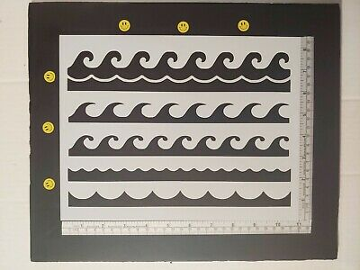 """Ocean Waves Wave Pattern Border Tiled Multiple 11"""" x 8.5"""" Stencil FREE SHIPPING"""