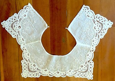 "Vtg~White Battenburg Lace Collar~Dainty Floral Embroidery~18"" Neck~Pearl~Euc"