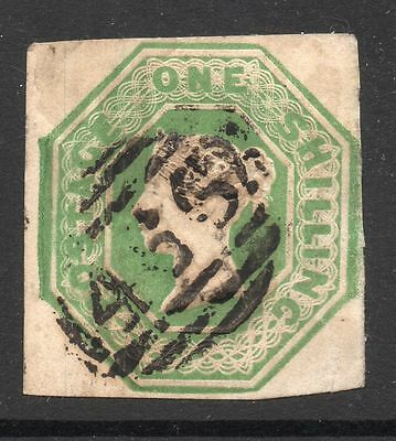 QV sg 55   1/- green embossed with light 466 Liverpol pmk's 4 margin example