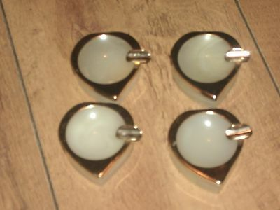 4 Vintage Onyx Matching Heart Shaped Ashtrays With Brass Detail