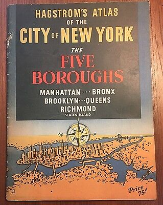 Vintage Hagstrom's Atlas Of The City Of New York- The Five Boroughs 1945