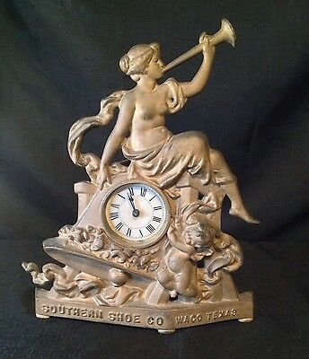 Stunning Antique Cast Metal Southern Shoe Company Advertising Clock, Waco Texas