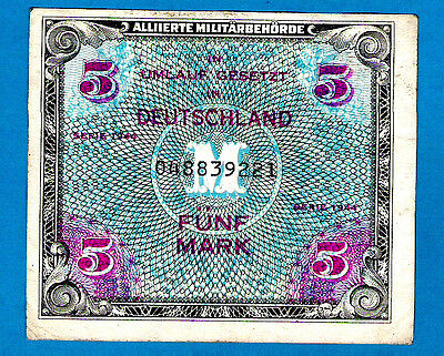 """BRITISH ZONE Germany P193a 5 Mark AMC Serial # begining with """"0"""" 1944 XF+ RARE"""