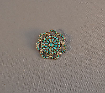 Exquisite Vintage Zuni Indian Silver Circle Pin - Pettipoint Turquoise Stones