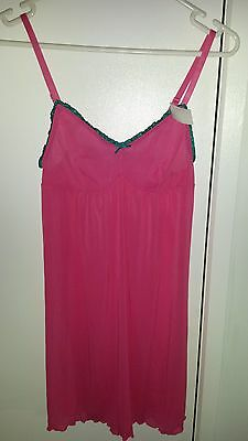 WOMENS PINK Lingerie Chemise NIGHTIE AND UNDIES SET SIZE 10-12  BNWT