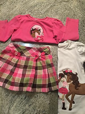 Gymboree Toddler Western 3 Pc Outit Set Size 6 And 7 Skirt Tops  Horses