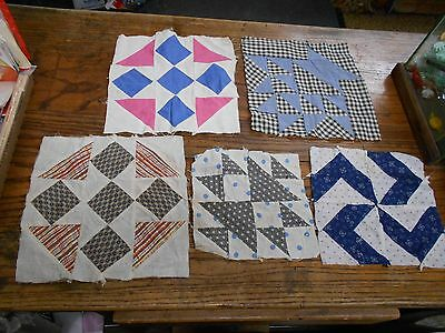5 vintage machine & and sewn quilt blocks repurpose or use 5 different designs