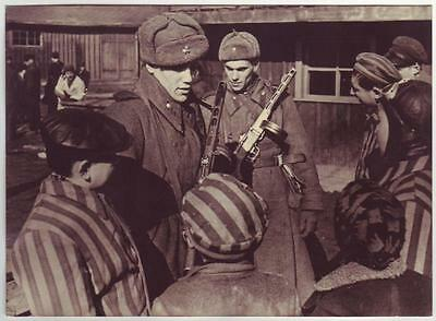 Russian Wwii Press Photo: Russian Soldiers In Auschwitz Concentration Camp