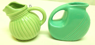 Lot Of 2 Miniature Ceramic Pitchers Ornament Green Ball Ribbed & Cantina Ware