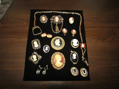 Cameo Brooches and Earrings 15 pcs. Screw Backs, Clip Ons Various Styles