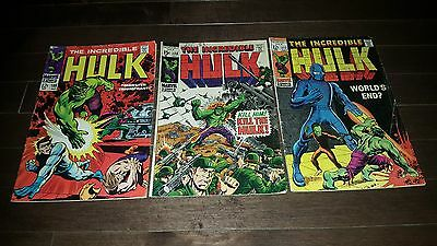 A Lot Of (3) Incredible Hulk  #108 #117 #120 Vg/fine...1968-69