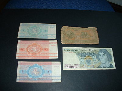 5 Old  World Banknotes  As In Picture   N12