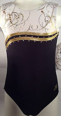 Gymnastic Leotard Black, white and Gold