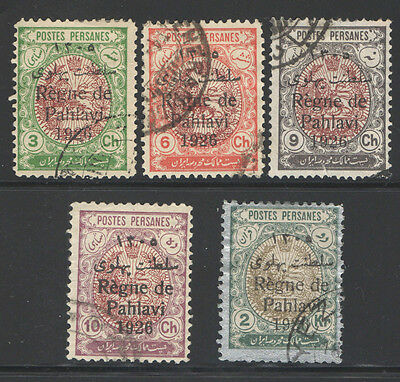 Persia 1926 Lion Arm Of Persia Ovpt. 5 Used Stamps  2P966