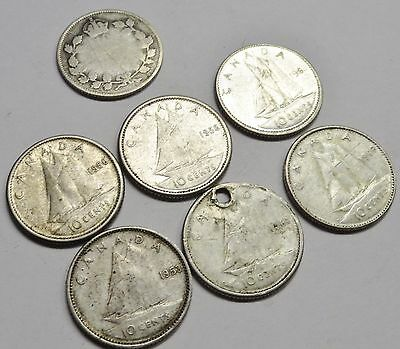 Mixed Year Lot of (7) Canada 10 Cents Silver Coins