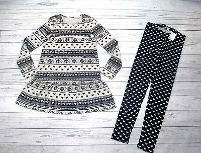 H&m  Girls Size 6-8 Long Sleeve Dress Matching Leggings Brand New With Tags